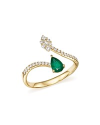 Bloomingdale's Emerald And Diamond Open Ring In 14K Yellow Gold 100 Exclusive Green Gold