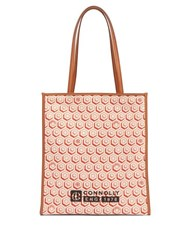 Connolly Geometric Print Canvas And Leather Tote Bag Red Multi