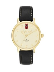 Kate Spade Metro Night Owl Goldtone Stainless Steel And Leather Strap Watch Gold Black