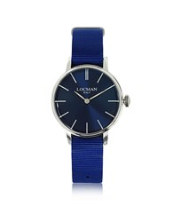Locman 1960 Silver Stainless Steel Women's Watch W Blue Canvas Strap