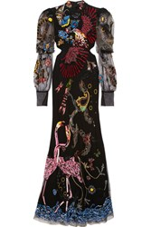 Alexander Mcqueen Embellished Cutout Tulle Gown Black