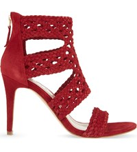 Sandro Agate Suede Heeled Sandals Bordeaux