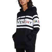 Givenchy Logo Embroidered Striped Cotton Hoodie Black