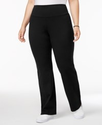 Style And Co Plus Size Tummy Control Bootcut Yoga Pants Only At Macy's Deep Black