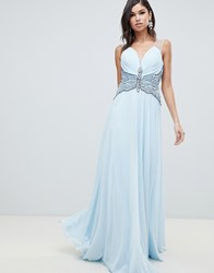 Forever Unique Embellished Maxi Dress Blue