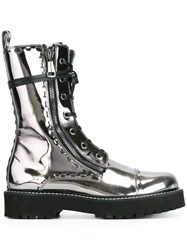 Dolce And Gabbana Metallic Combat Boots