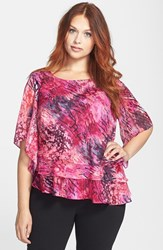 Plus Size Women's Alex Evenings Tiered Print Chiffon Blouse