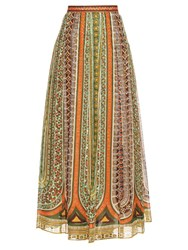 Valentino Tribal Ribbon Print Cotton Muslin Maxi Skirt Multi