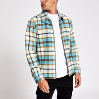 River Island Blue Check Regular Fit Zip Overshirt