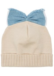 Federica Moretti Sand Bow Embellished Cotton Beanie Cream