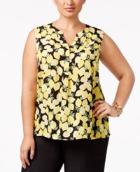 Nine West Plus Size Lemon Print Shell Lemon Multi