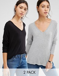 Asos The New Forever T Shirt With Long Sleeves And Dip Back 2 Pack Black Grey Multi