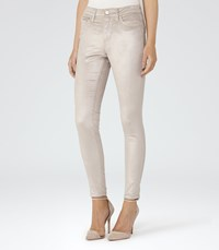 Reiss Joni Metallic Womens Metallic Skinny Cords In Grey