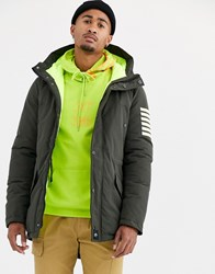 Sixth June Parka Coat In Khaki With Padded Neon Lining Green
