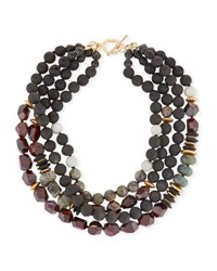 Akola Four Strand Beaded Necklace Black Red