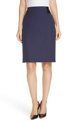 Boss Valeta Soft Twill Faux Leather Detail Pencil Skirt Ink Blue