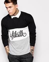 Sik Silk Siksilk Long Sleeve Rugby Shirt Black
