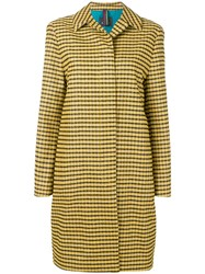 Paul Smith Ps Fitted Checked Coat Yellow