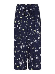 Yumi Floral Crop Trousers Navy