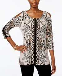 Jm Collection Cold Shoulder Printed Tunic Only At Macy's Glass Fleur
