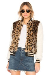 Mother The Faux Fur Baseball Snap Jacket Brown