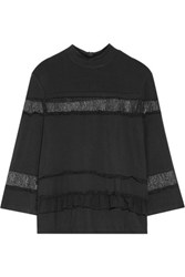 Raoul Perla Chiffon And Lace Trimmed Stretch Jersey Top Black