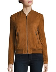 Karl Lagerfeld Leather Bomber Jacket Cognac