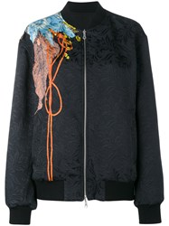 Dries Van Noten Vismes Floral Print Bomber Jacket Black