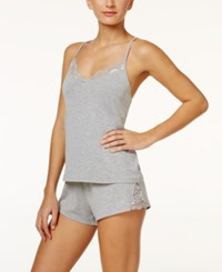 Flora Nikrooz By Amelia Lace Trimmed Cami And Shorts Knit Pajama Set Heather Grey