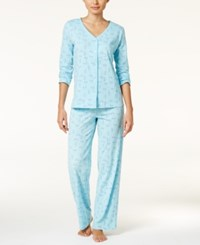 Charter Club Loop Trimmed Knit Pajama Set Only At Macy's Dragonfly Floral
