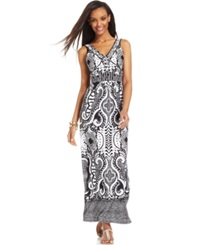 Style And Co. Petite Beaded Neck Printed Maxi Dress