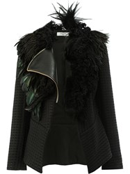 Lanvin Feather Trimmed Jacket Women Cotton Lamb Skin Acetate Rooster Feathers 36 Black