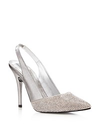 Caparros Zoila Metallic Slingback Pointed Pumps Pewter
