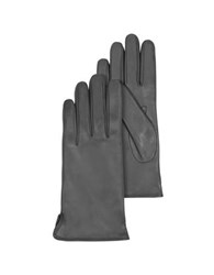 Forzieri Dark Gray Leather Women's Gloves W Cashmere Lining Graphite