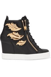 Giuseppe Zanotti Embellished Leather Wedge Sneakers Black