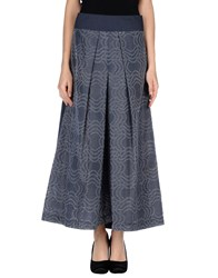 Oblique Skirts 3 4 Length Skirts Women Blue