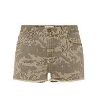 Current Elliott The Boyfriend Camo Printed Denim Shorts Green