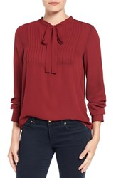 Vince Camuto Women's Tie Neck Pleat Tuxedo Blouse Malbec Red
