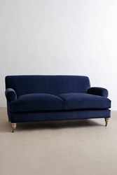 Anthropologie Velvet Willoughby Sofa Wilcox Legs Blue