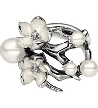 Shaun Leane Cherry Blossom Silver White Pearl And Diamond Ring