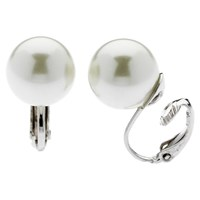 Finesse Faux Pearl Clip On Earrings White
