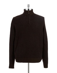 Black Brown Lambswool Zipper Placket Sweater Dark Navy