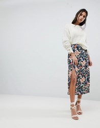 Lily And Lionel Midi Skirt With Side Split Vintage Floral Multi