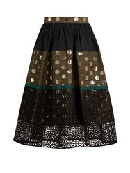 Kolor Contrast Panelled A Line Skirt Black Multi