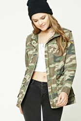 Forever 21 Camo Print Utility Jacket Brown Olive