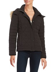 Marc New York Faux Fur Trimed Down Puffer Coat Black