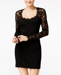 Jump Juniors' Illusion Lace Bodycon Dress Black