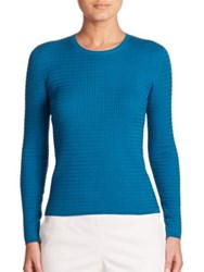 Akris Stretch Wool And Silk Cable Knit Pullover Whirlaway