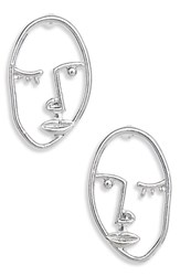 Leith Face Earrings Silver