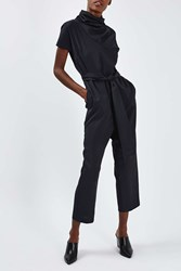 Boutique '80S Funnel Jumpsuit By Navy Blue